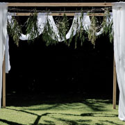 Wooden Pergola with White Draping 2