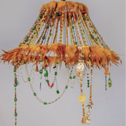 Yellow Feather & Beads Chandelier