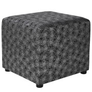 Black & Silver Flower Patterned Box Ottoman