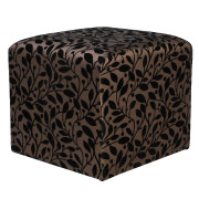 Gold & Black Leather Box Ottoman