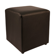 Black Leather Box Ottoman