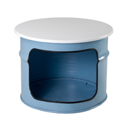 Blue Round Drum Coffee Table