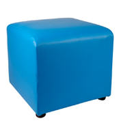 Blue Leather Box Ottoman