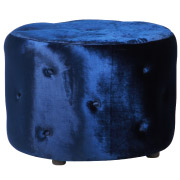 Navy Round (Buttoned) Ottoman