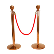 Red Stanchion Rope With Copper Clasp