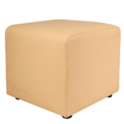 Cream Leather Box Ottoman