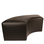 Black Curved Leather Ottoman