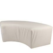 White Leather Curved Ottoman