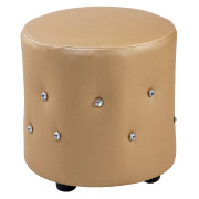 Gold Round Crystal Ottoman