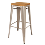 Grey Xavier Bar Stool With Wooden Seat