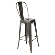 Gunmetal Xavier Bar Stool With Full Backrest