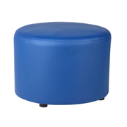 Blue Leather Round Ottoman