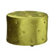 Green Velvet Round Ottoman