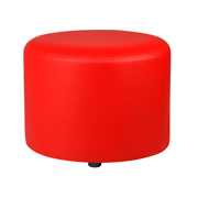 Red Round Leather Ottoman