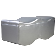 Silver Leather Wavy Ottoman