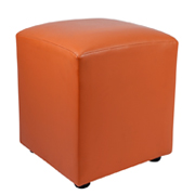 Orange Leather Box Ottoman