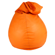 Orange Leather Bean Bag
