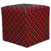 Red and Black Leather Box Ottoman