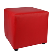 Red Leather Box Ottoman