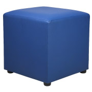 Royal Blue Leather Box Ottoman