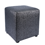 Silver Patterned Leather Box Ottoman