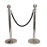 Black Stanchion Rope With Silver Clasp