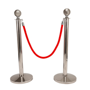 Red Stanchion Rope With Silver Clasp