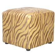 Tiger Print Leather Box Ottoman