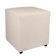 White Leather Box Ottoman
