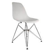 White Eames Cafe Chair With Steel Legs