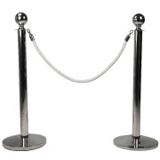 White Stanchion Rope With Silver Clasp