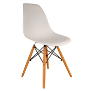 White Eames Cafe Chair With Wooden Legs