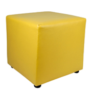 Yellow Leather Box Ottoman