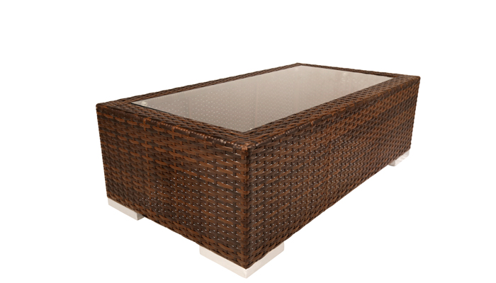 Brown Wicker Glass Top Coffee Tables