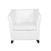 Club Single Lounger White PU Leatherette