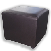 Cube Leather Brown Ottoman