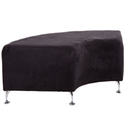 Curved Black PU Ottoman
