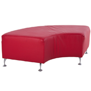 Curved Red PU Ottoman