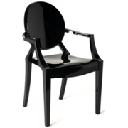 Ghost Cafe Chair Black with Arms