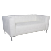 Hudson White PU Leatherette Double Lounger
