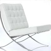 Leather Barcelona Single Seater White