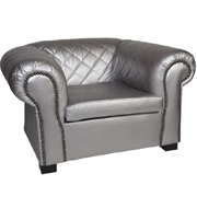 Maddison Single Lounger Silver PU Leatherette