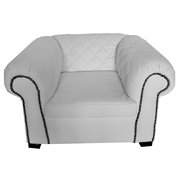Madison White PU Leatherette Single Lounger