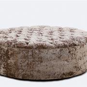 Large Round Ottoman (Olive Velvet)