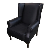 Traditional Wingback Black Single Lounger