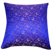 Asian Brocade Cushion Cover Royal Blue