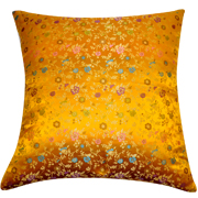 Asian Brocade Cushion Cover Yellow