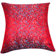 Asian Brocade Cushion Cover Bright Red