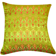 Asian Brocade Cushion Cover Lime Green