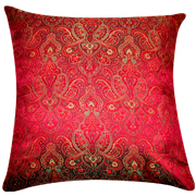 Asian Brocade Cushion Cover Wine Red